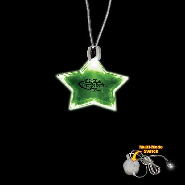 "High Quality, Star Shape Green Light-up Acrylic Pendant On A 24"" Necklace Photo"