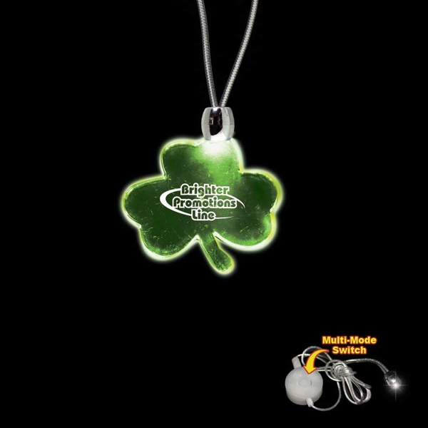 "High Quality, Shamrock Shape Green Light-up Acrylic Pendant On A 24"" Necklace Photo"