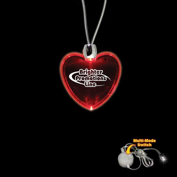 "High Quality, Heart Shape Red Light-up Acrylic Pendant On A 24"" Necklace Photo"