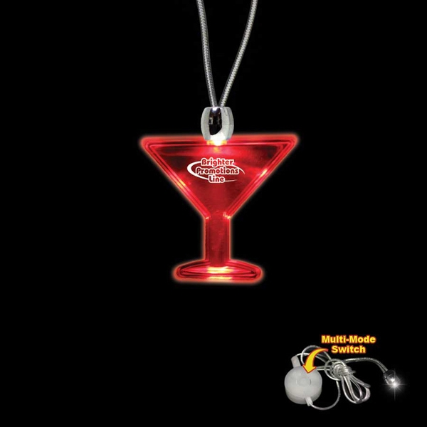 "High Quality, Martini Glass Shape Red Light-up Acrylic Pendant On A 24"" Necklace Photo"