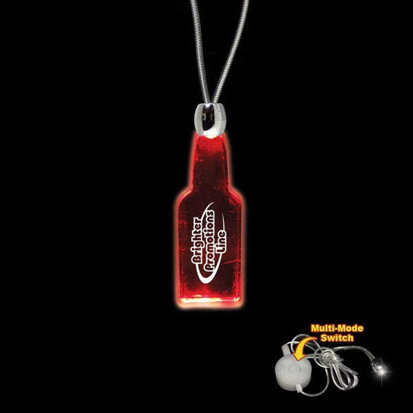 "High Quality, Bottle Shape Red Light-up Acrylic Pendant On A 24"" Necklace Photo"