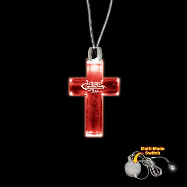 "High Quality, Cross Shape Red Light-up Acrylic Pendant On A 24"" Necklace Photo"
