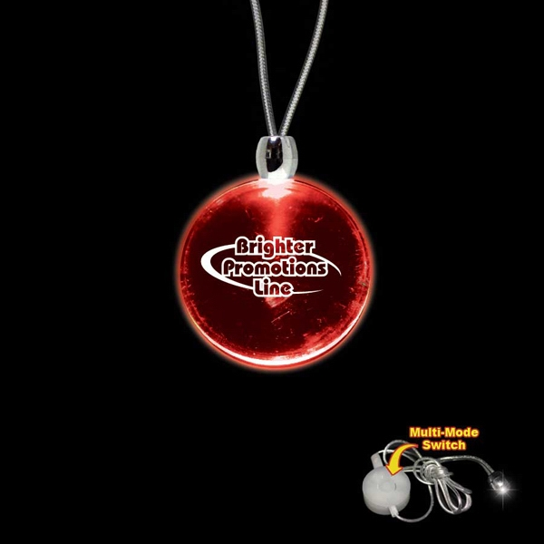 "High Quality, Round Red Light-up Acrylic Pendant On A 24"" Necklace Photo"