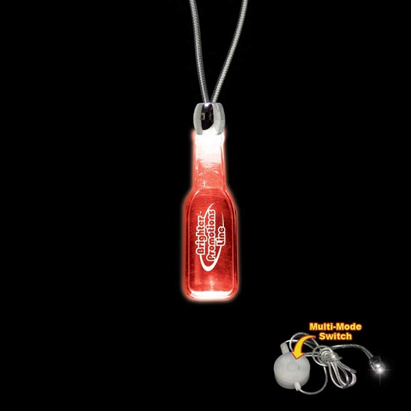 "High Quality, Round Bottle Red Light-up Acrylic Pendant On A 24"" Necklace Photo"