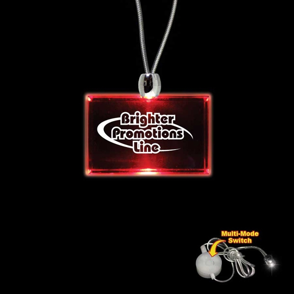 "High Quality, Rectangle Red Light-up Acrylic Pendant On A 24"" Necklace Photo"