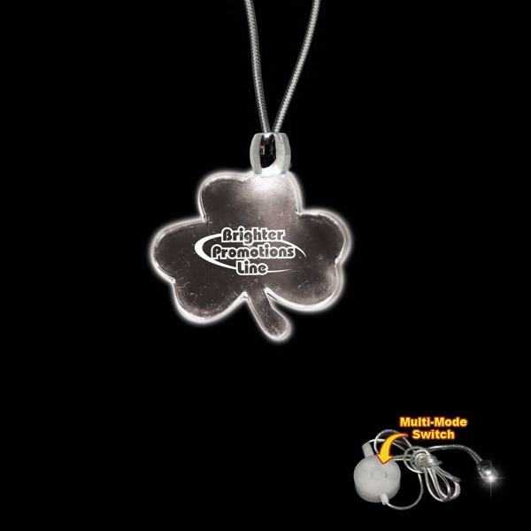 "High Quality, Shamrock Shape White Light-up Acrylic Pendant On A 24"" Necklace Photo"