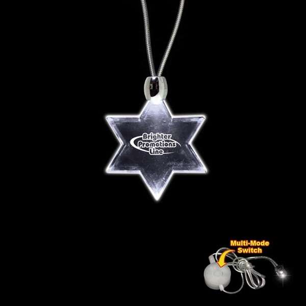 "High Quality, Star Of David Shape White Light-up Acrylic Pendant On A 24"" Necklace Photo"