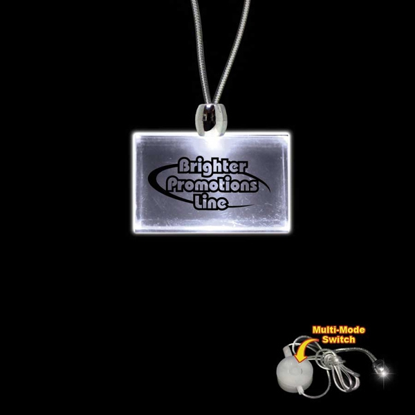 "High Quality, Rectangle White Light-up Led Acrylic Pendant On A 24"" Necklace Photo"