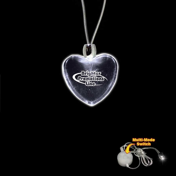 "High Quality, Heart Shape White Light-up Acrylic Pendant On A 24"" Necklace Photo"