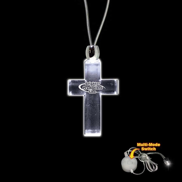 "High Quality, Cross Shape White Light-up Acrylic Pendant On A 24"" Necklace Photo"