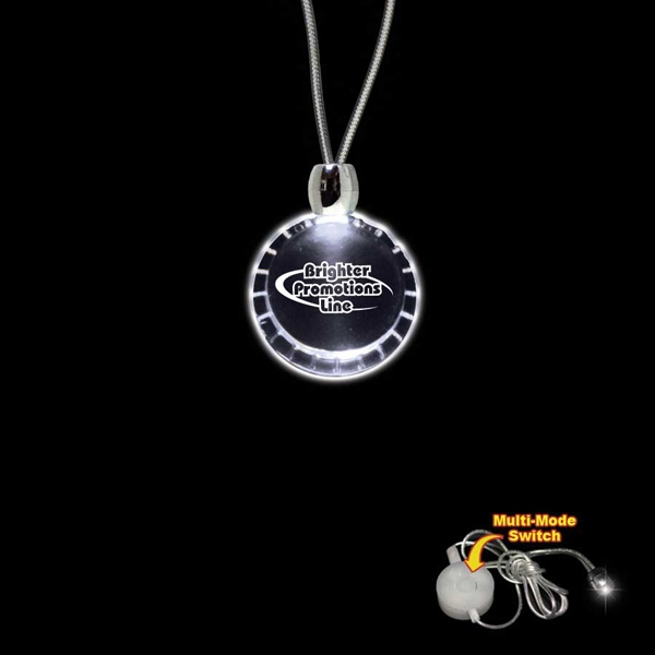 "High Quality, Bottle Cap Shape White Light-up Acrylic Pendant On A 24"" Necklace Photo"