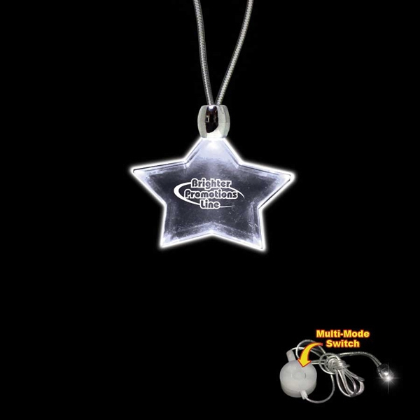 "High Quality, Star Shape White Light-up Acrylic Pendant On A 24"" Necklace Photo"