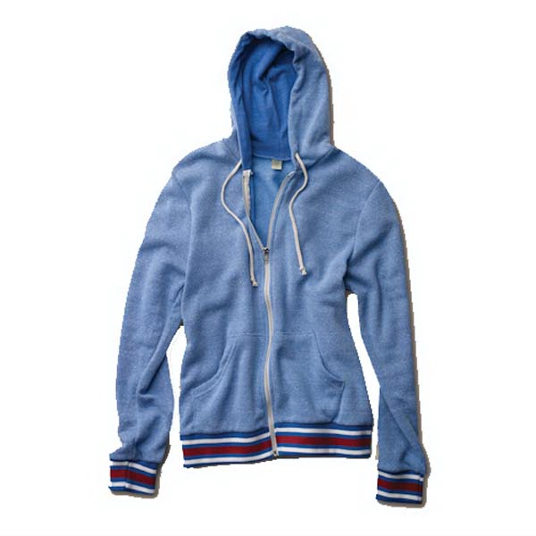 Woody -  X S- X L - Unisex Zip Hoodie With Striped Rib Bands On Sleeve Cuffs And Bottom Hem Photo