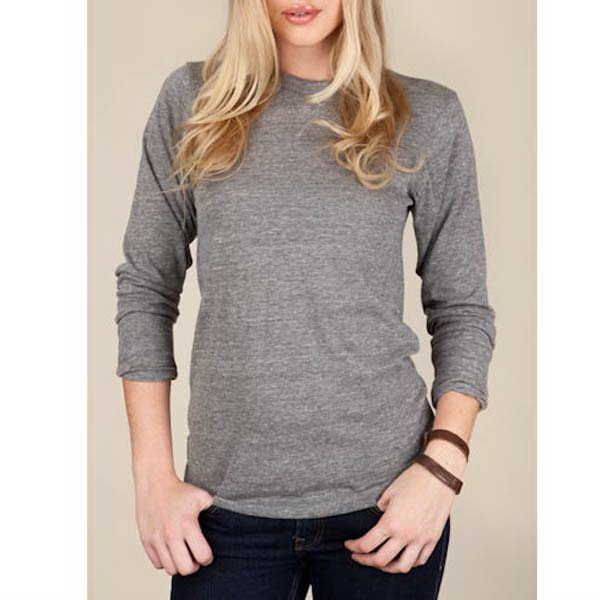 Eco Gray S- X L - Unisex Eco-heather Long Sleeve Crew Tee Photo