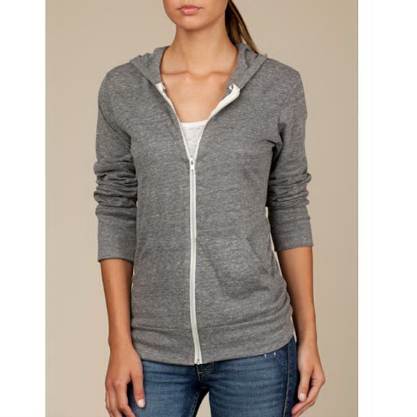 Eco Gray  X S- X L - Unisex Eco-heather Zip-up Hoodie Photo