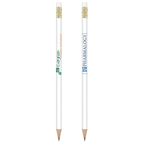 Durable 50% recycled plastic barrel pencil - Durable 46% recycled plastic white barrel pencil with white eraser and gold ferrule.