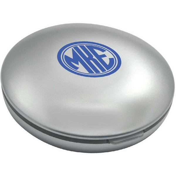 Compact Lighted Mirror - Folding compact LED lighted makeup mirror with regular and 2x magnifying mirrors.