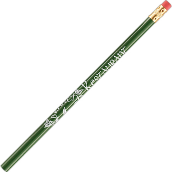International (tm) - 3 Color Imprint - Green - Bonded Core Pencil In A Wood-cased Barrel With Brass-colored Ferrule And Red Eraser Photo