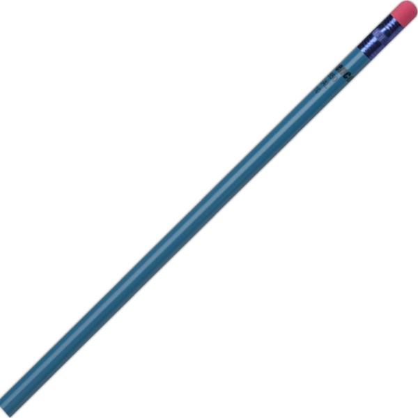 Create-a-pencil (tm) - 2 Color Imprint - Teal - Customizable Round Barrel, #2 Core Pencil Photo