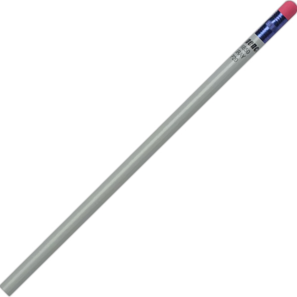 Create-a-pencil (tm) - 2 Color Imprint - Gray - Customizable Round Barrel, #2 Core Pencil Photo