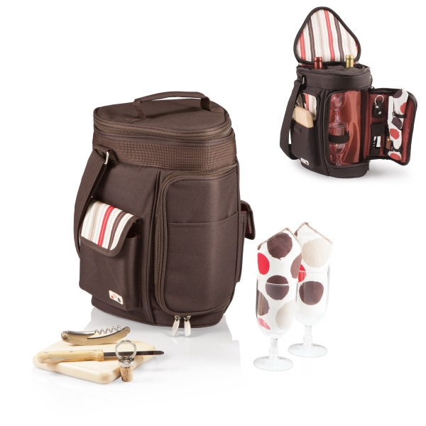 Moka Meritage - Insulated Triangular Cooler Tote With Wine And Cheese Service For Two Photo