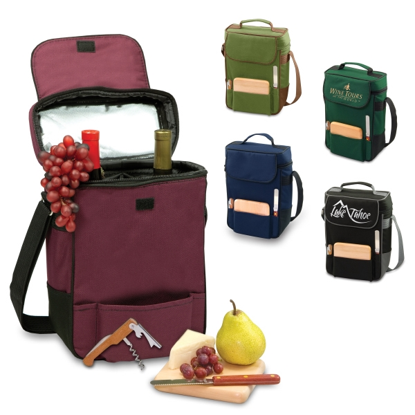 Duet - Burgundy - Insulated Wine And Cheese Cooler Tote With Adjustable Shoulder Strap & Service Photo