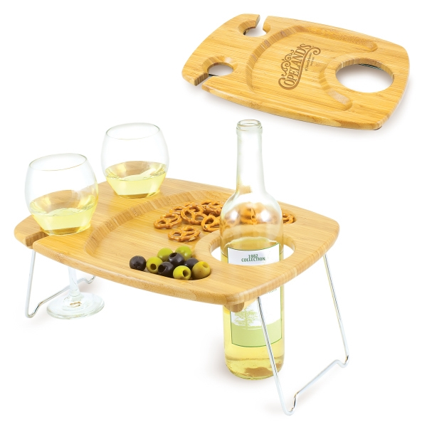 Mesavino - Wine Serving Table With Two Wine Glass Holders & Bottle Slot Photo