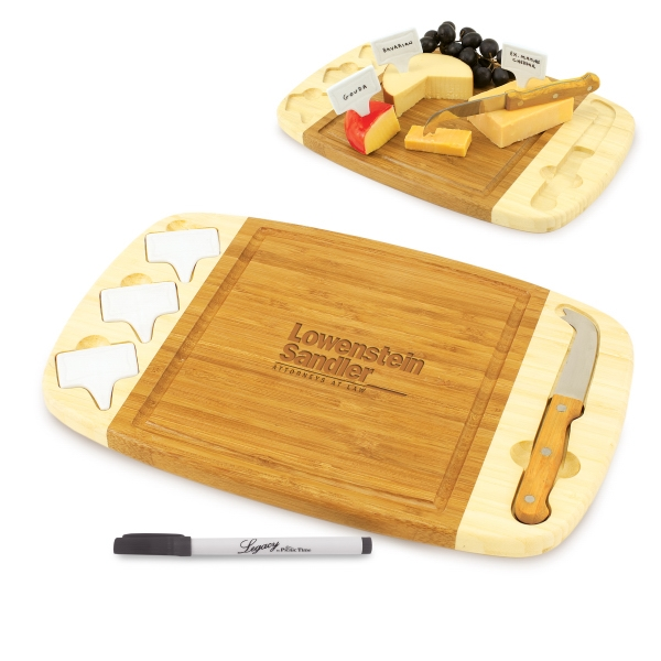 Delio - Two-toned Rectangular Bamboo Cutting Board With Three Porcelain Cheese Markers Photo