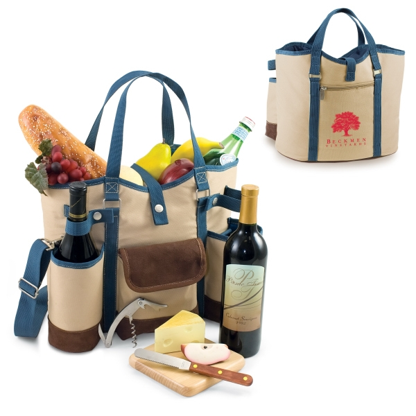 Wine Country - Insulated Two Bottle Wine Tote With Cheese Service And Corkscrew Photo