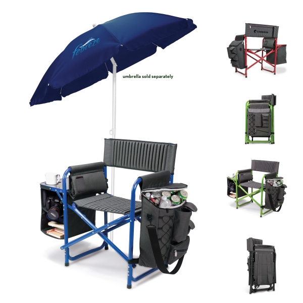 Fusion (r) - Dark Gray-lime - Folding Chair With Backpack Straps, Detachable Cooler, And Fold Out Side Shelves Photo