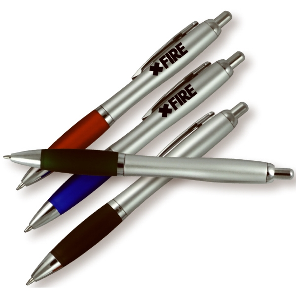 Silver Barrel Ballpoint Click Pen With Colored Rubber Grip
