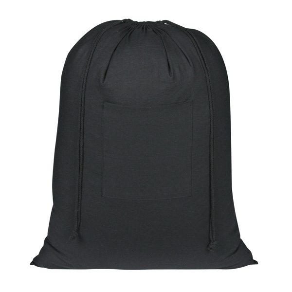 Wash Me - Black - Transfer - Laundry Bag Made Of 100% Cotton With Front Pocket Photo