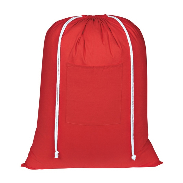 Wash Me - Red - Silkscreen - Laundry Bag Made Of 100% Cotton With Front Pocket Photo