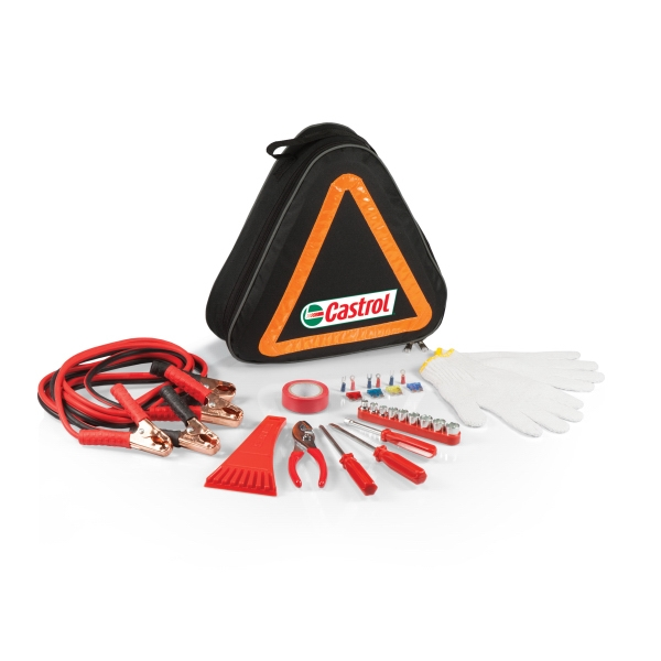 Roadside Emergency Kit Featuring Reflective Tote And Essential Automotive Tools Photo