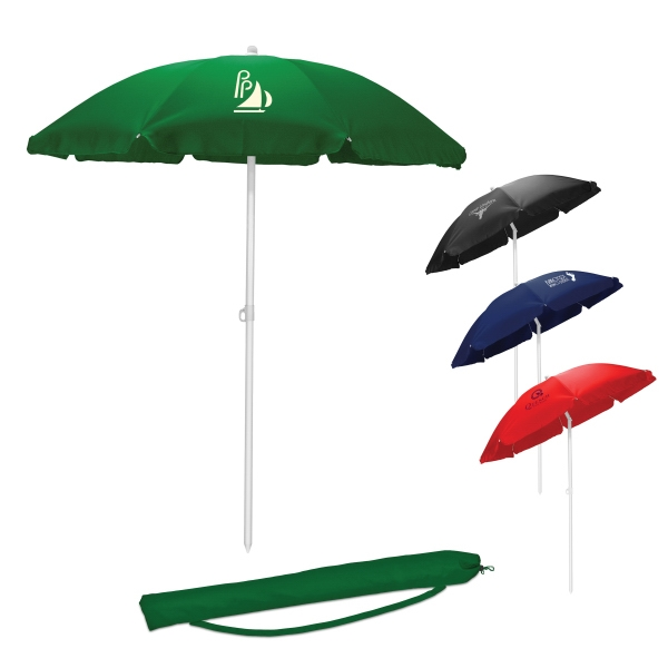 "Red - Solid-colored Sun Umbrella With 1.25"" Diameter Pole And Tilt Feature Photo"