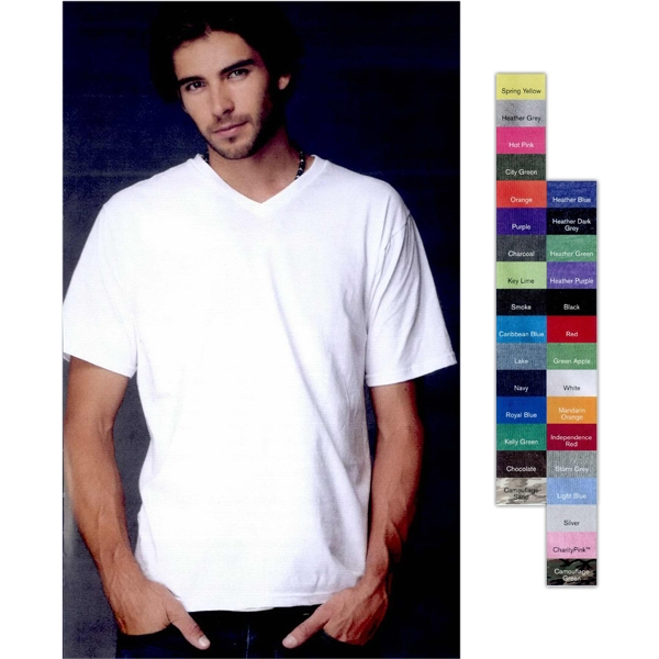 Anvil (r) - Neutrals S- X L - Adult Fashion Fit V-neck T-shirt. Blank Product Photo