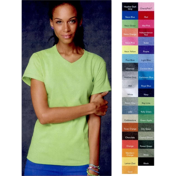 Anvil (r) - Heathers S- X L - Ladies' 5.4 Oz., Pre-shrunk 100% Cotton V-neck T-shirt. Blank Product Photo