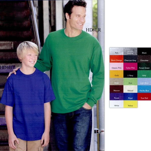 Fruit Of The Loom (r) Hd Lofteez (tm) - Colors - Thick And Soft Cotton Youth T-shirt, New High-density Fabric. Blank Product Photo