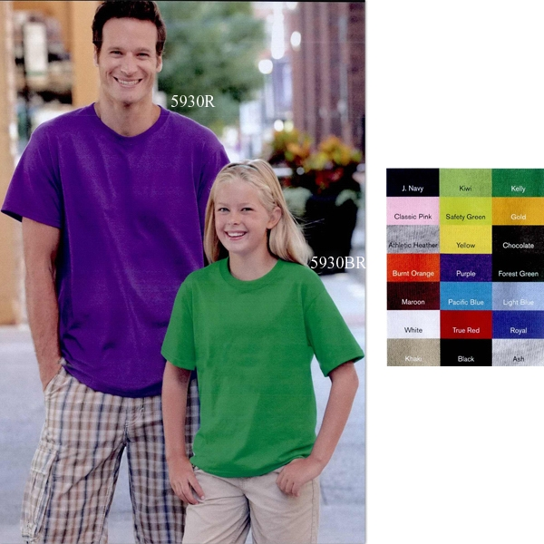 Fruit Of The Loom (r) Best (tm) - Colors S- X L - Adult T-shirt 5.6 Oz Pre-shrunk 50% Cotton/50% Polyester. Blank Product Photo