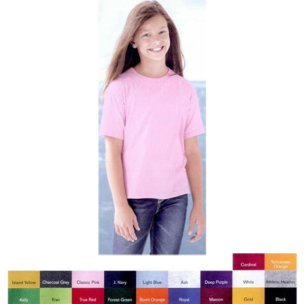 Jerzees (r) Hidensi-t (tm) - Neutrals - Youth 5.0 Oz Preshrunk 100% Cotton T-shirt With Shoulder To Shoulder Taping. Blank Photo