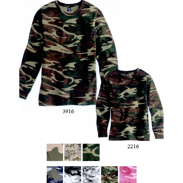 Code V - Youth Camouflage Long Sleeve T-shirt. Blank Product Photo