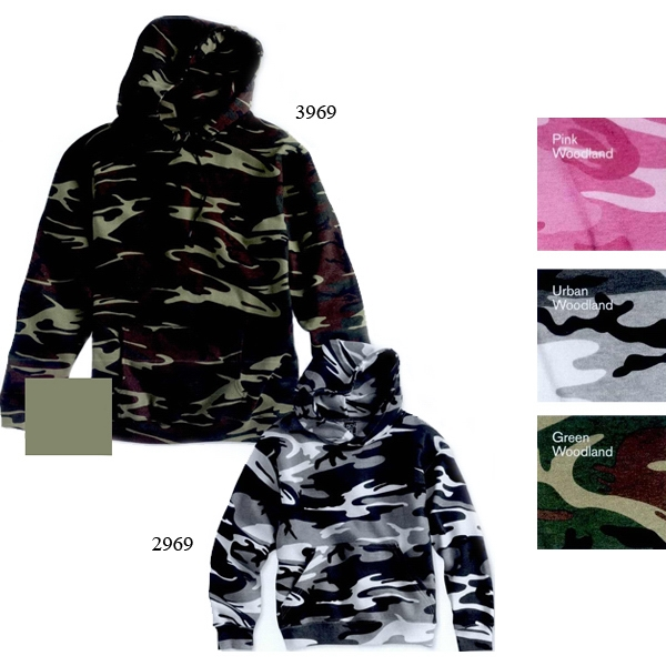 Code V - Youth Camouflage Pullover Hooded Sweatshirt. Blank Product Photo