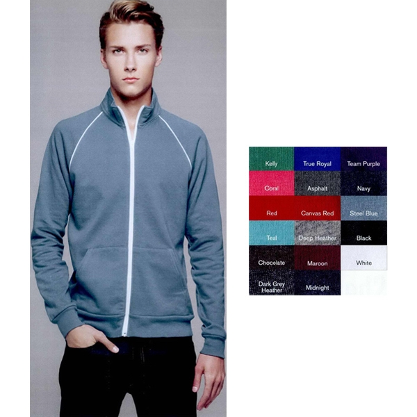 Bella + Canvas (r) - S- X L - Full-zip Fleece Cadet Collar Jacket With Piping. Blank Product Photo