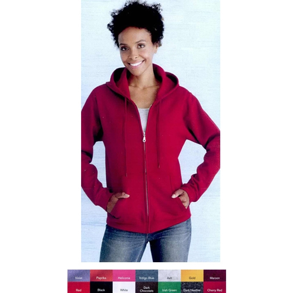 Gildan (r) - Colors S- X L - Ladies' Full-zip Sweatshirt With Matching Drawstring. Blank Product Photo