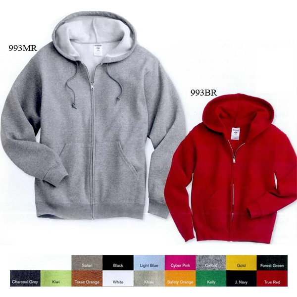 Jerzees (r) - Neutrals - Youth Full Zip Hooded Sweatshirt With 1x1 Rib Cuffs And Waistband. Blank Product Photo