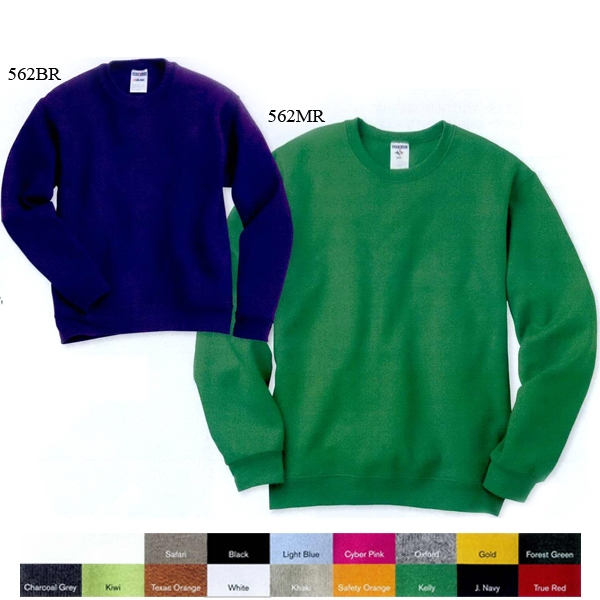 Jerzees (r) - 2 X L-3 X L Heathers - Adult Crewneck Sweatshirt. 8.0 Oz. 50% Cotton/50% Polyester. Blank Product Photo