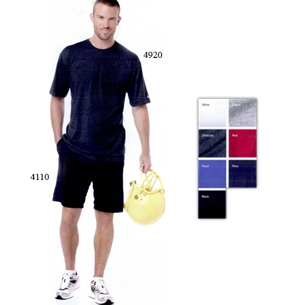 Badger Sport (r) B-dry Core - S- X L - Cotton Short Sleeve T-shirt With Moisture Management Performance. Blank Product Photo