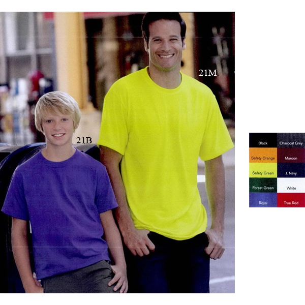 Jerzees (r) - Neutrals - Lightweight Polyester Youth Short Sleeve T-shirt With Moisture Wicking. Blank Photo