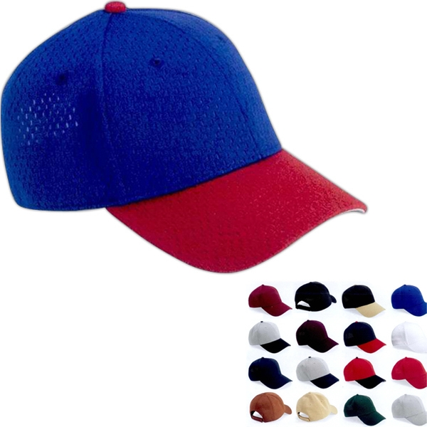 Oc Sports - Mesh Baseball Cap With Pre-curved Visor In 100% Polyester. Blank Photo