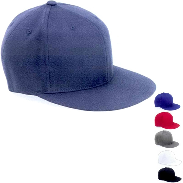 Flexfit (r) - Fitted Six Panel Flat Bill Baseball Cap. Blank Photo